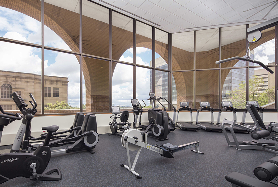 Fitness center with weight lifting equipment and cardio machines
